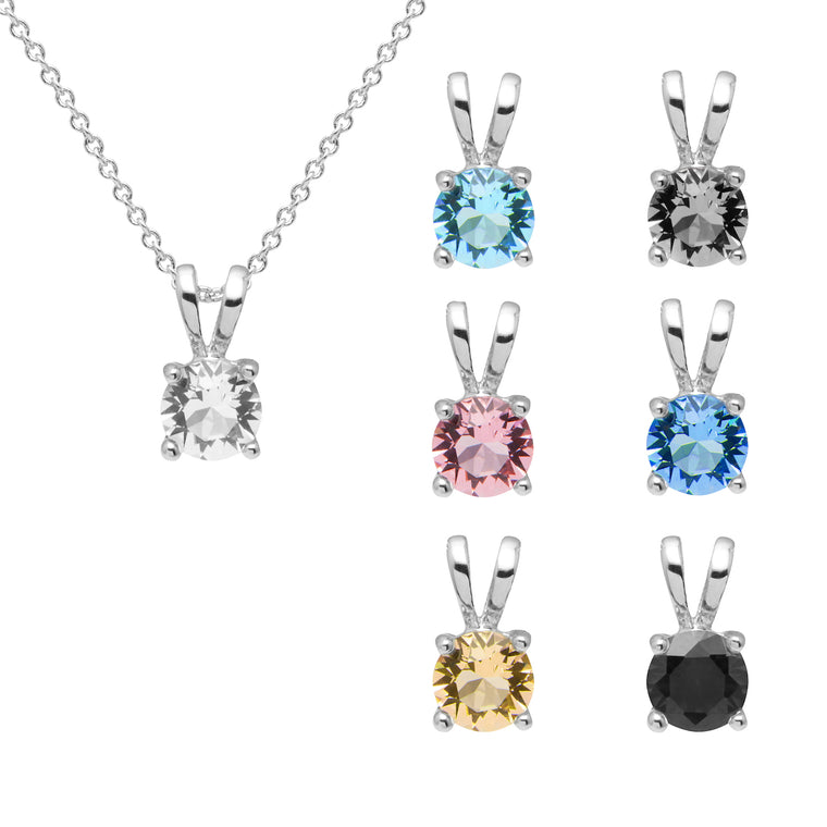 Aura 18k White Gold Plated Set of 7 Round Pendant Necklaces with Crystals from Swarovski¨
