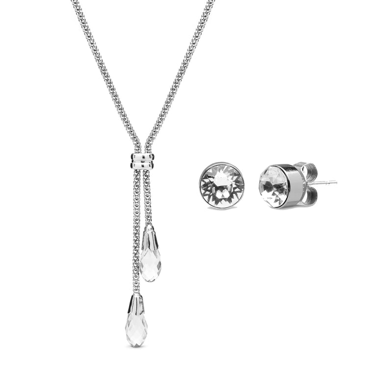 Aura 18k White Gold Plated Lariat Teardrop Necklace & Matching Studs with Crystals from Swarovski¨