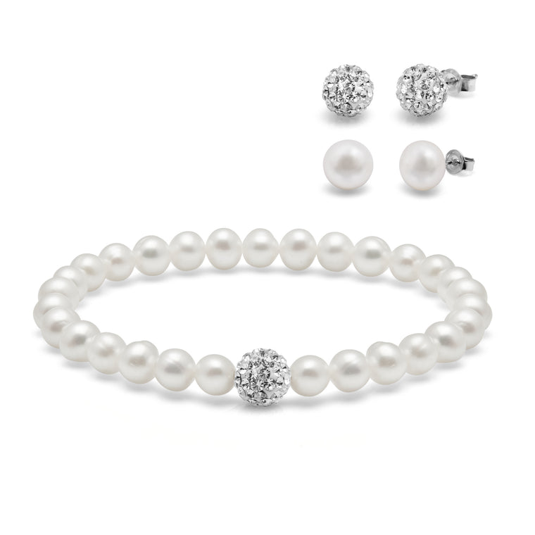 Kyoto Pearl White Freshwater Pearl & Crystal Ball Bracelet with 2 Pairs of Matching Studs
