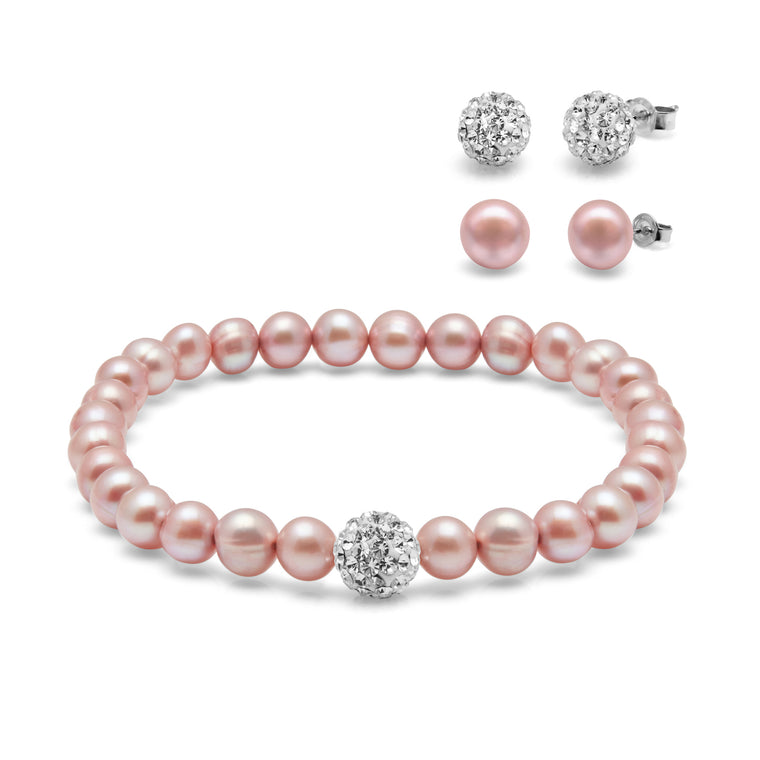 Kyoto Pearl Pink Freshwater Pearl & Crystal Ball Bracelet with 2 Pairs of Matching Studs