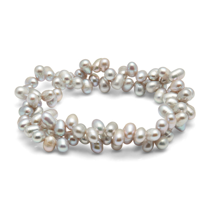 Kyoto Pearl Twisted 2 Row Grey Freshwater Pearl Bracelet