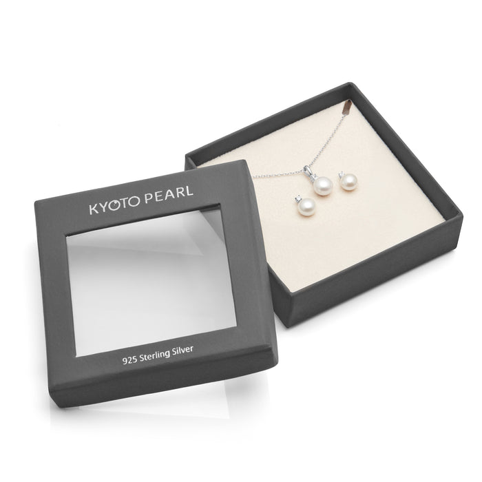 Kyoto Pearl Pearl with White Sapphire Matching Earring & Pendant Set in 925 Silver - Harpson Accessories