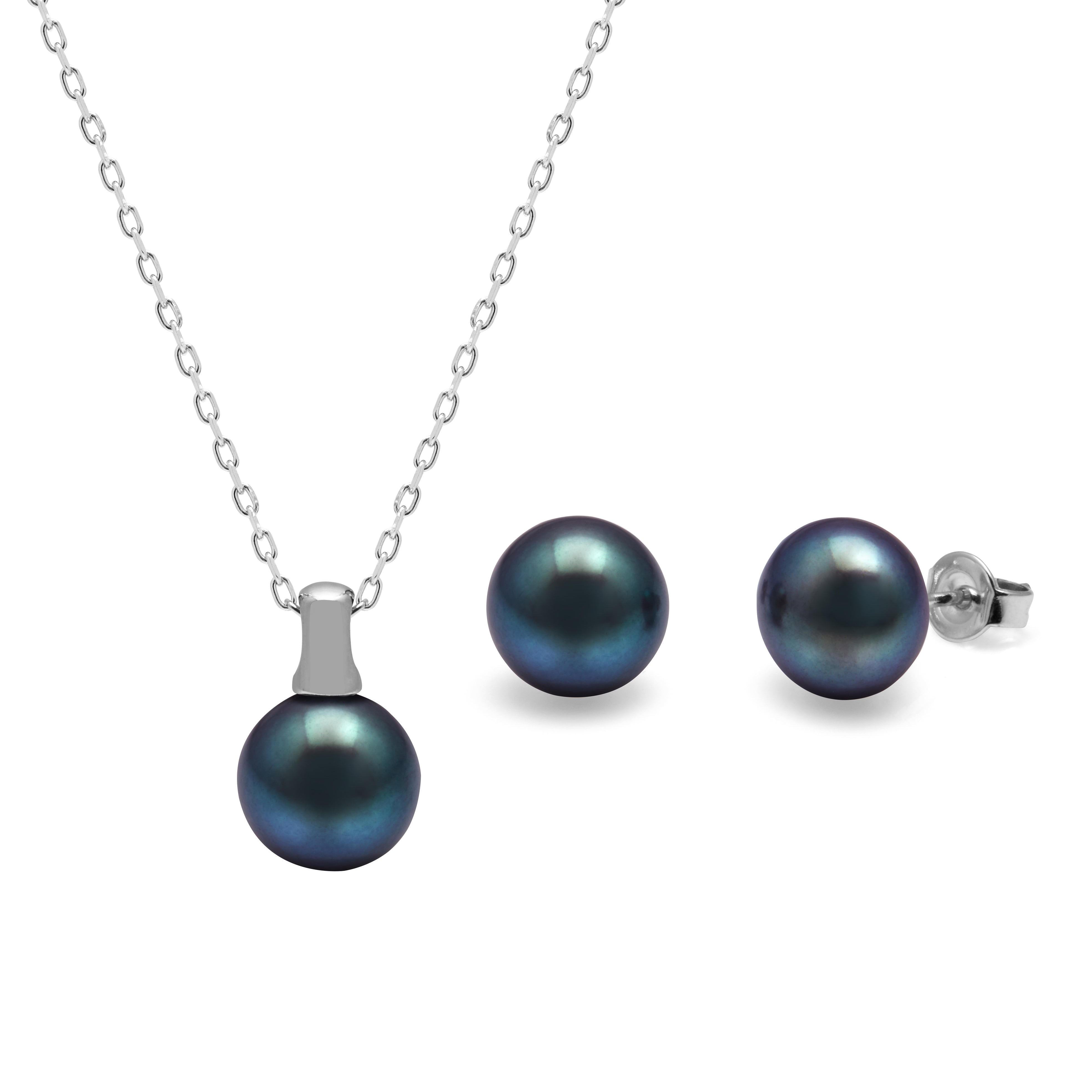 TKKP040 Kyoto Pearl Peacock Freshwater Pearl Set with Bale Pendant and Stud Earrings