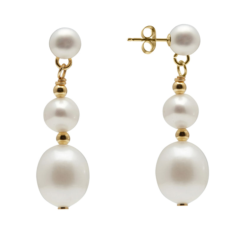 TKKP102 Kyoto Pearl Double Drop Freshwater Pearl Earrings in Gold Plated 925 Silver