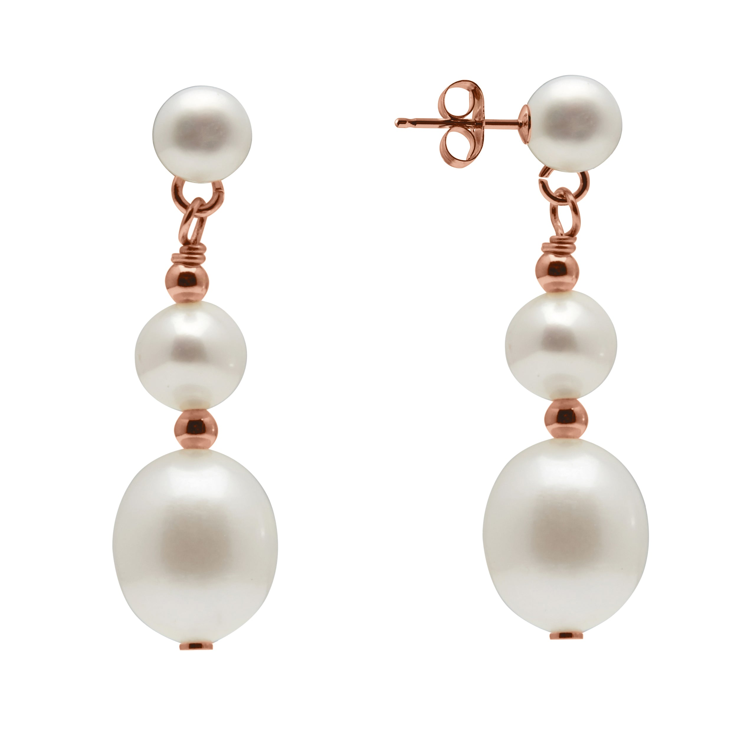 TKKP103 Kyoto Pearl Double Drop Freshwater Pearl Earrings in Rose Gold Plated 925 Silver