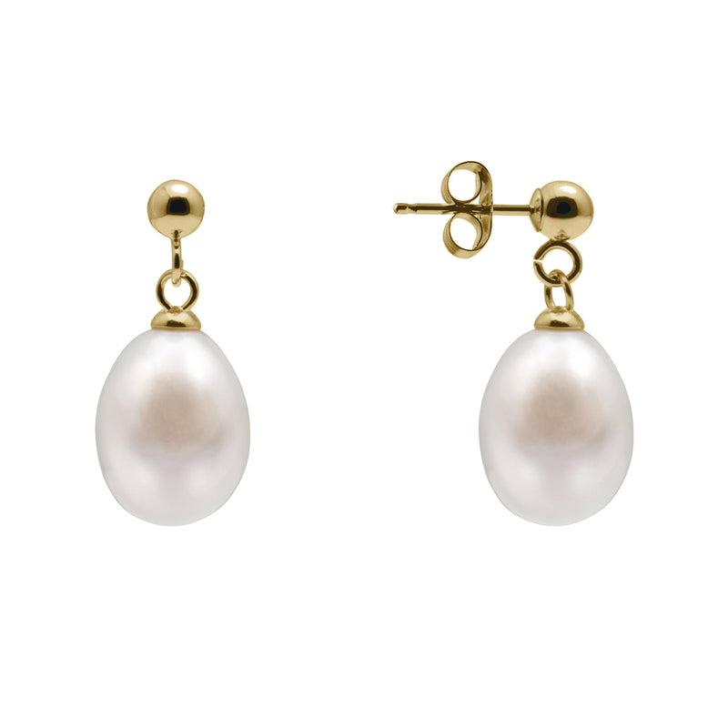 TKKP117 Kyoto Pearl 6-7mm Freshwater Pearl Ball and Pearl Drop Earrings with Gold Plated 925 Silver