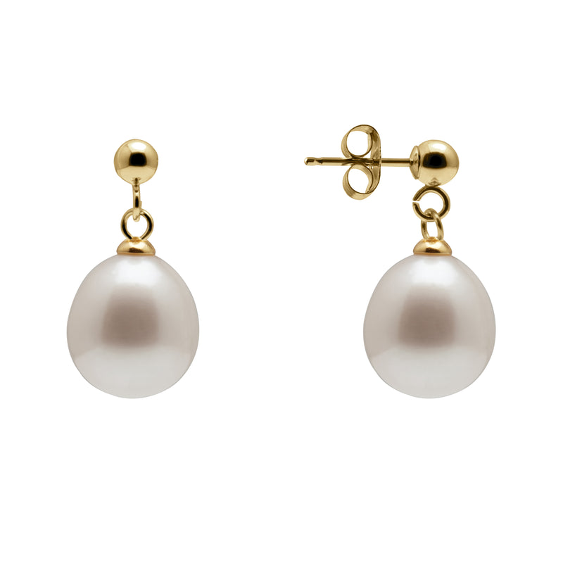 TKKP126 Kyoto Pearl Freshwater Pearl & Ball Stud Earrings in 925 Silver