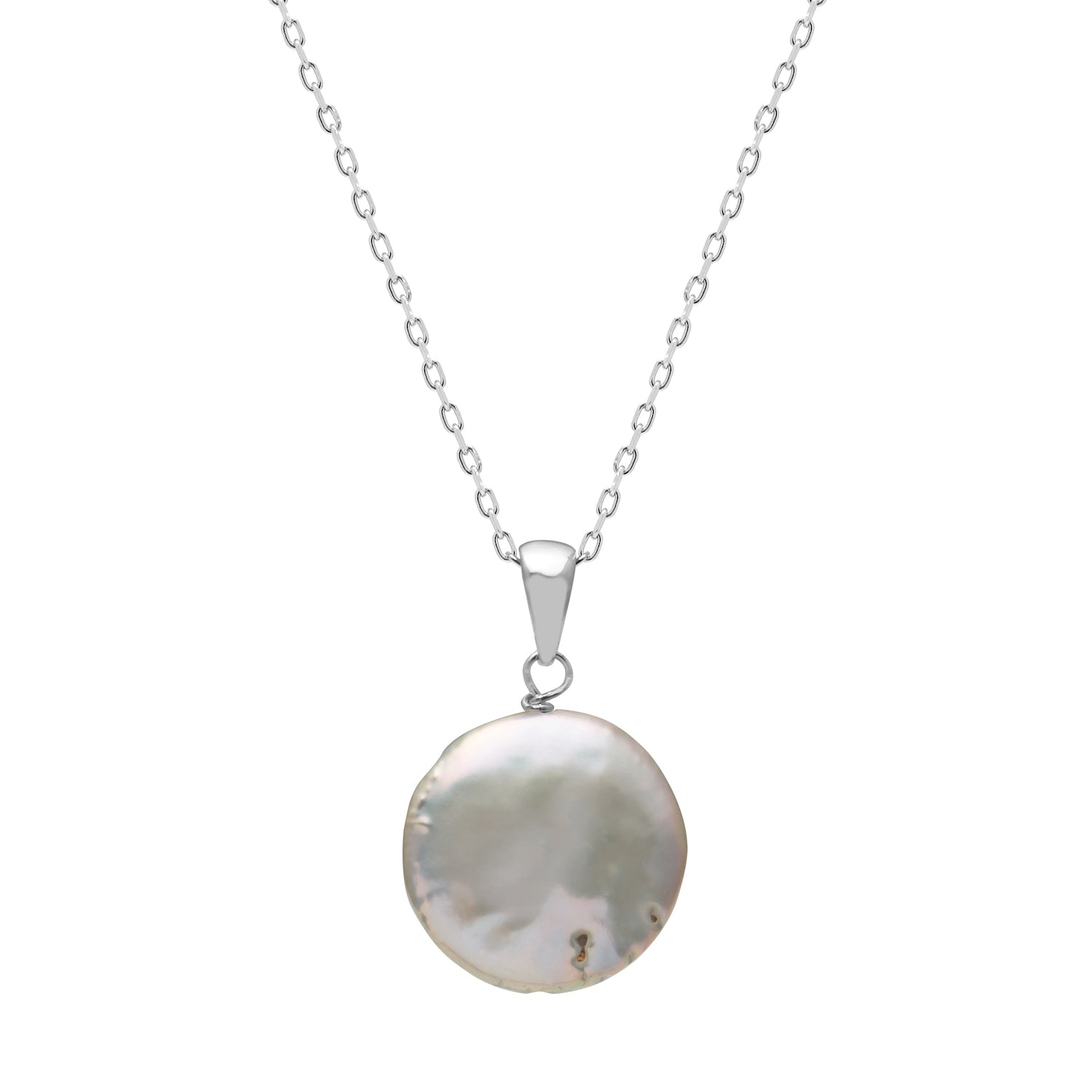 TKKP149 Kyoto Pearl Grey Freshwater Coin Pearl Pendant Necklace in 925 Silver