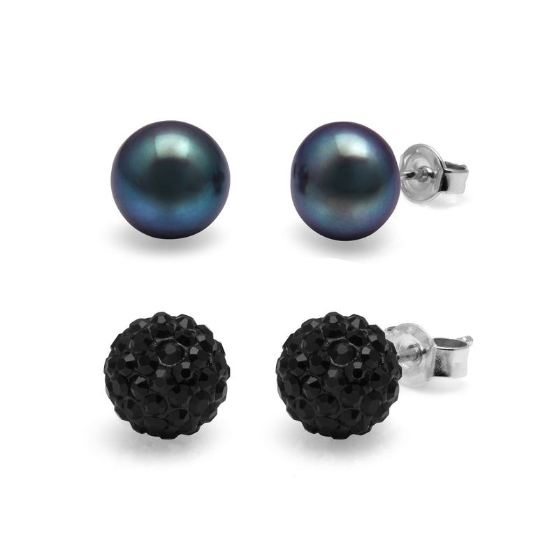 TKKP155 Kyoto Pearl Black Button Freshwater Pearl and Crystal Pave Studs Set