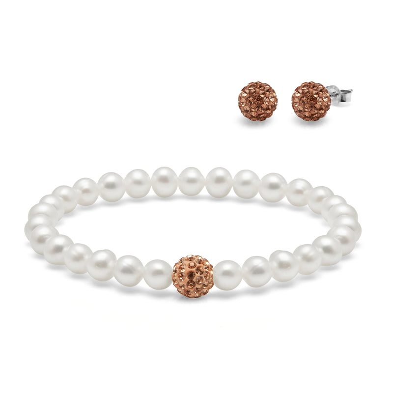 TKKP157 Kyoto Pearl Freshwater Pearl and Gold Pave Ball Bracelet with Matching Pave Studs
