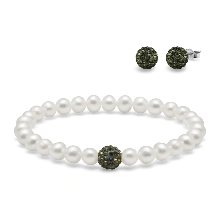 TKKP158 Kyoto Pearl Freshwater Pearl and Black Pave Ball Bracelet with Matching Pave Studs