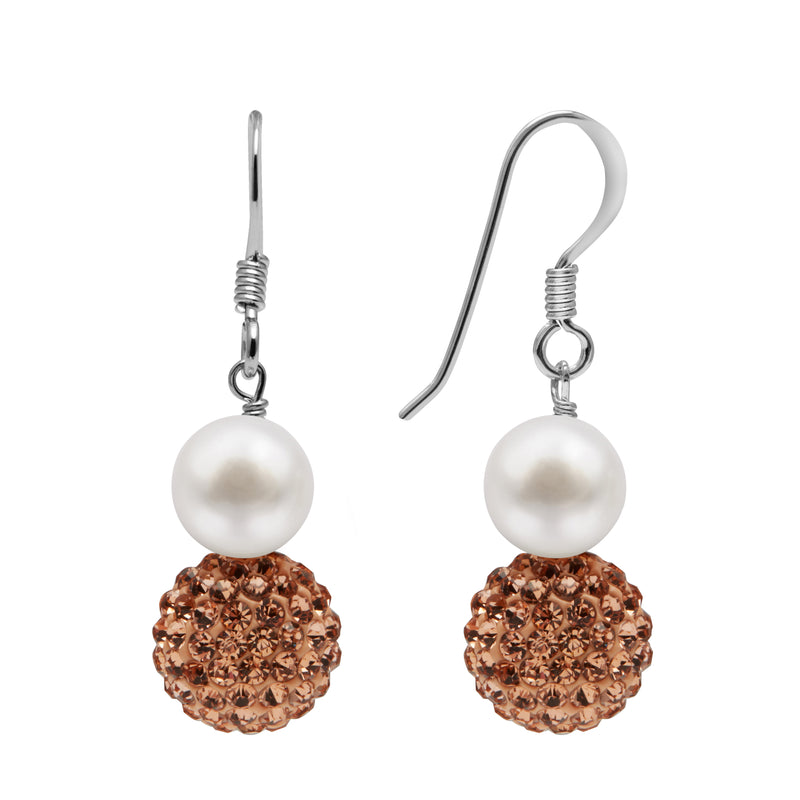 TKKP161 Kyoto Pearl Freshwater Pearl Drop Fish Hook with Rose Gold Gold Pave Crystal Spheres