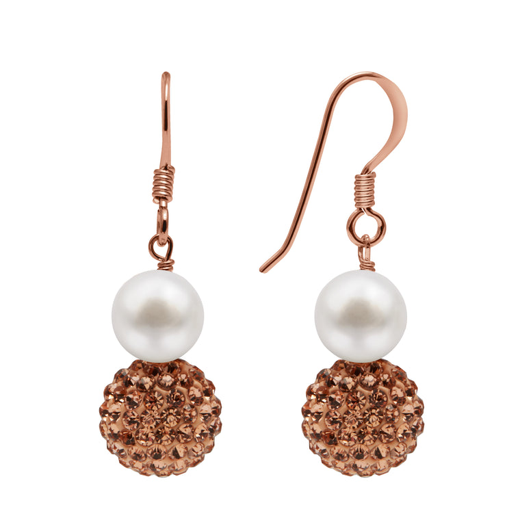 TKKP162 Kyoto Pearl Freshwater Pearl Drop Fish Hook with Gold Pave Crystal Spheres