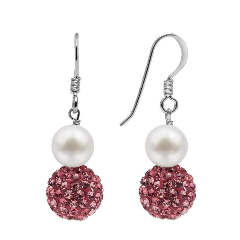 TKKP163Kyoto Pearl Freshwater Pearl Drop Earrings with Pink Pave Crystal Spheres on 925 Silver Fish Hooks