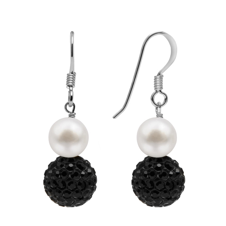TKKP165 Kyoto Pearl Freshwater Pearl Drop Earrings with Black Pave Crystal Spheres on 925 Silver Fish Hooks