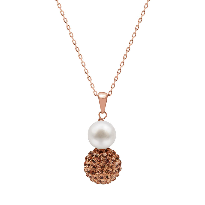 TKKP167 Kyoto Pearl Freshwater Pearl with Crystal Pave Ball Pendant Necklace in Rose Gold Plated 925 Silver