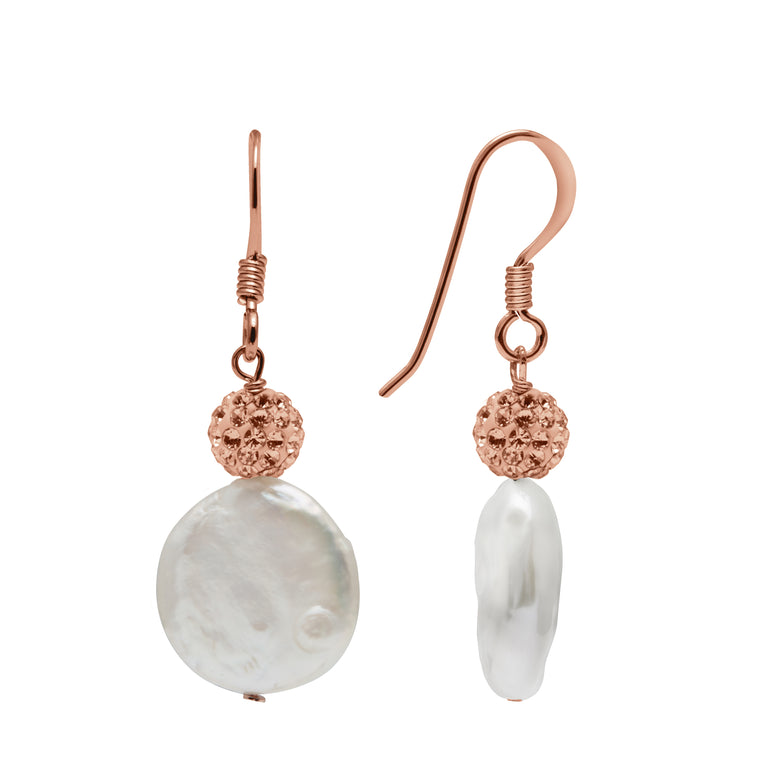 TKKP172 Kyoto Pearl Freshwater Coin Pearl and Pave Crystal Ball Fishhook Earrings