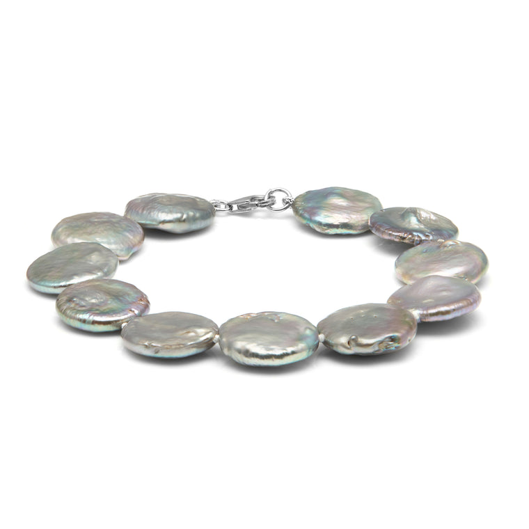 TKKP197 Kyoto Pearl Grey Freshwater Coin Pearl Bracelet with 925 Silver Clasp