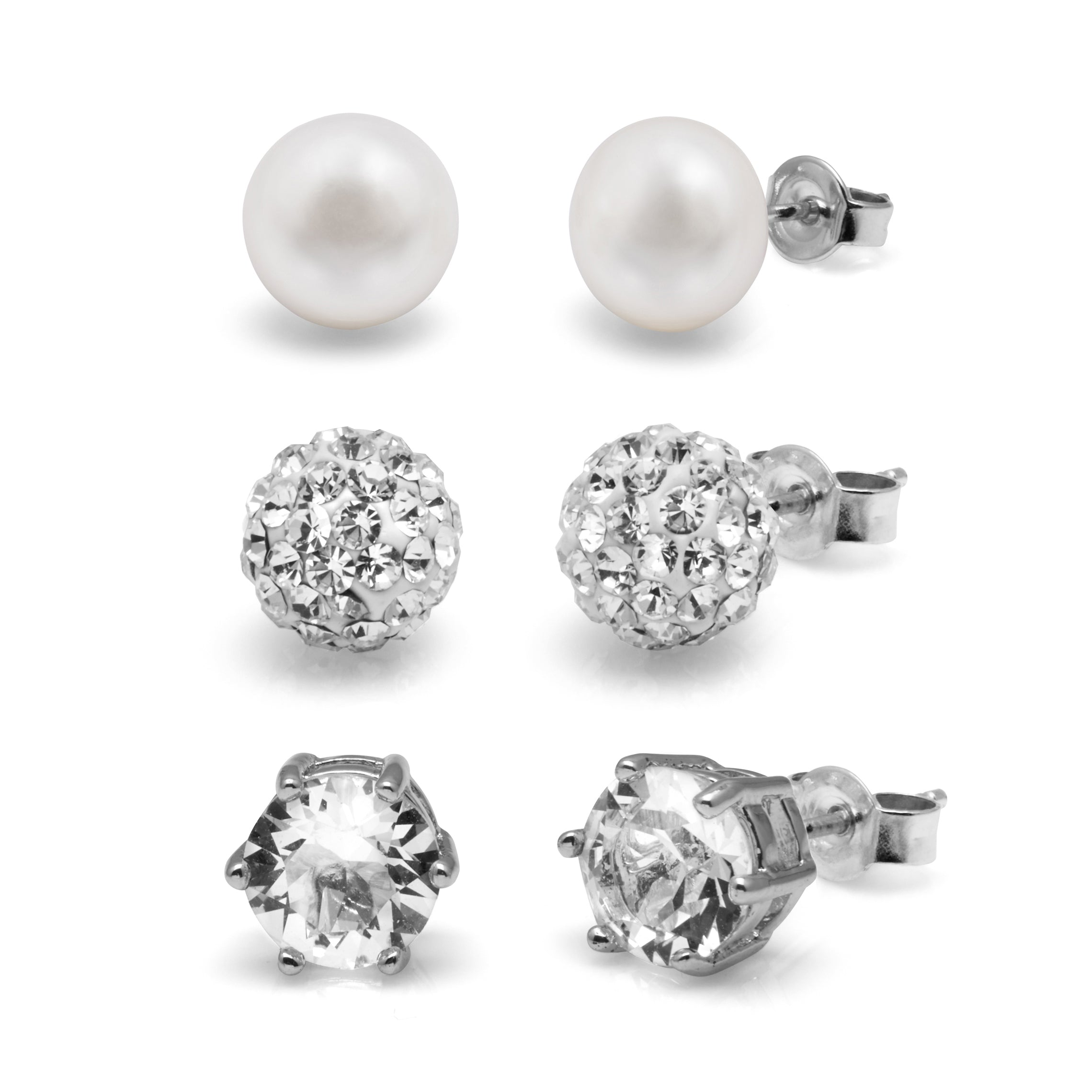 TKKP204 Kyoto Pearl Set of 3 Freshwater Pearl Studs in 925 Silver