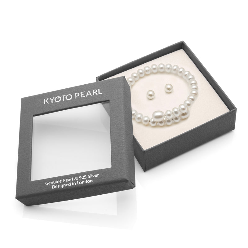 TKKP301 Kyoto Pearl Classic Freshwater Pearl Bangle with Free Pearl Stud Earrings