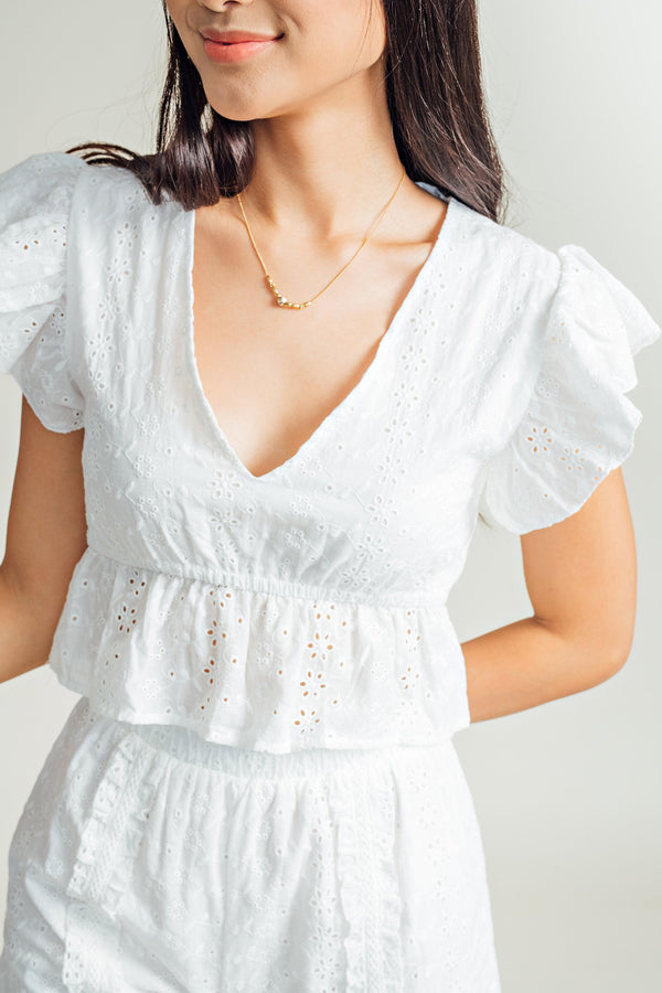 Ada V-neck Eyelet Top & Shorts Set