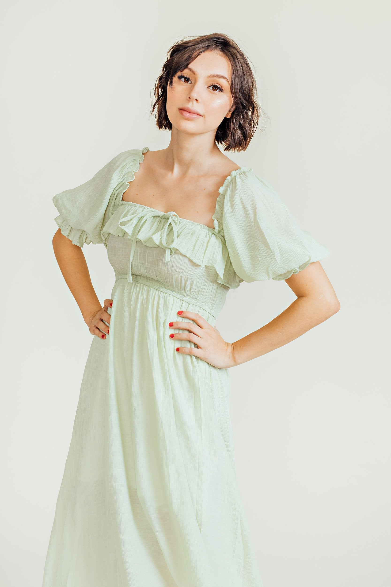 Kerrigan Puff Sleeves Maxi Dress