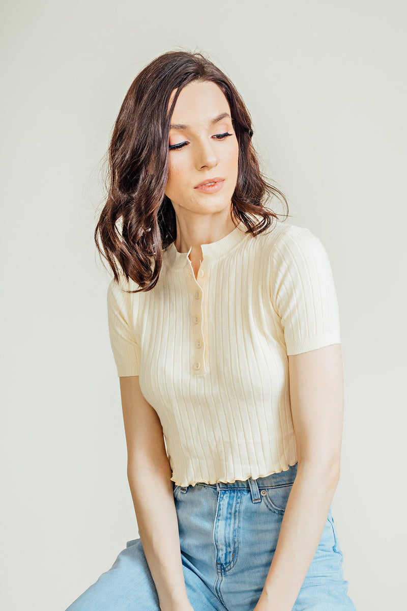 Cherry Buttondown Crop Top