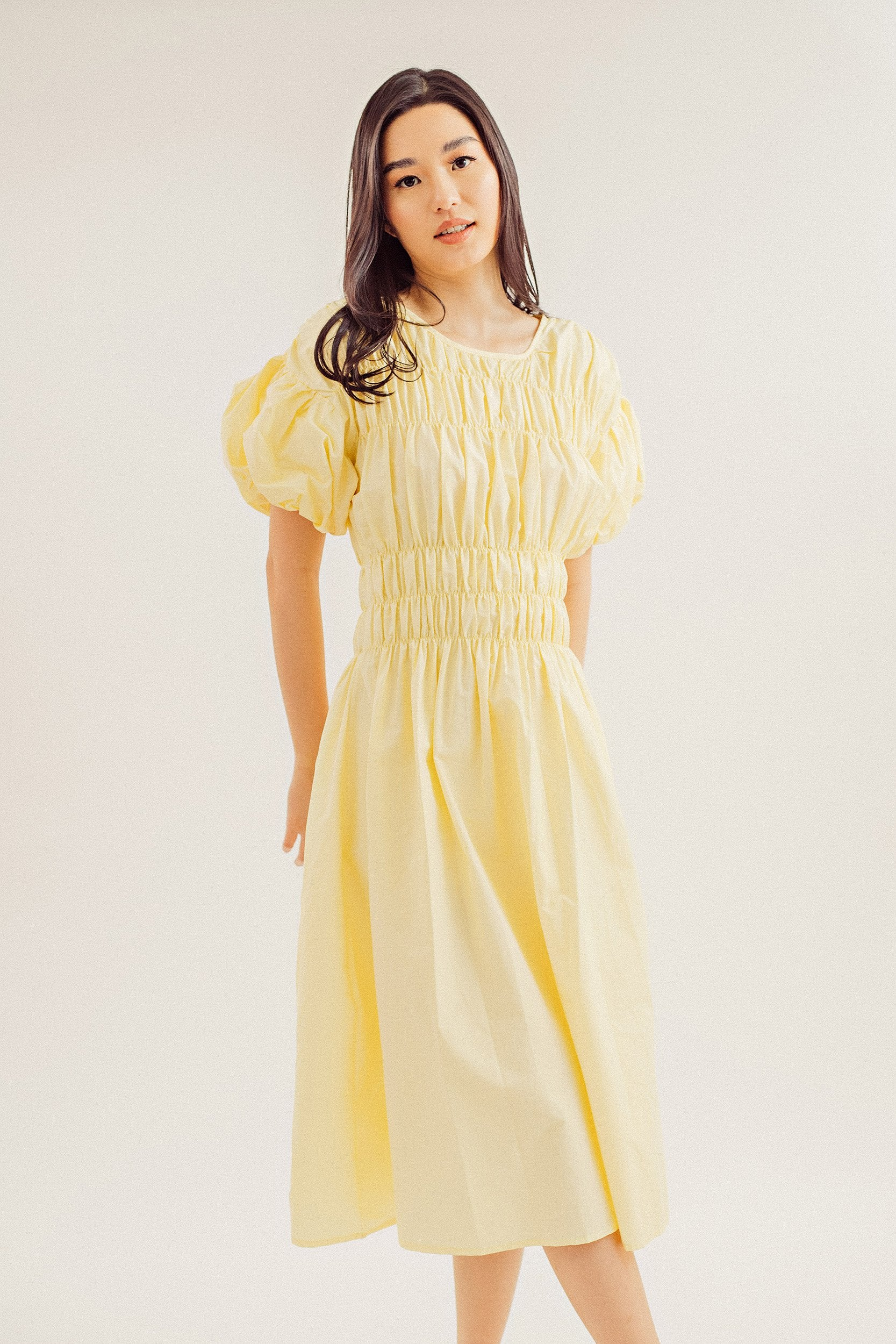 Missy Puff Sleeve Round Neck Dress
