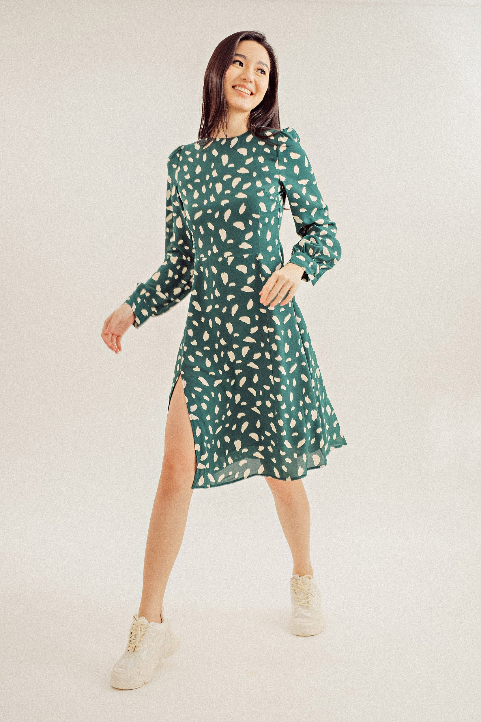 Caroline Printed Bishop Sleeve Dress