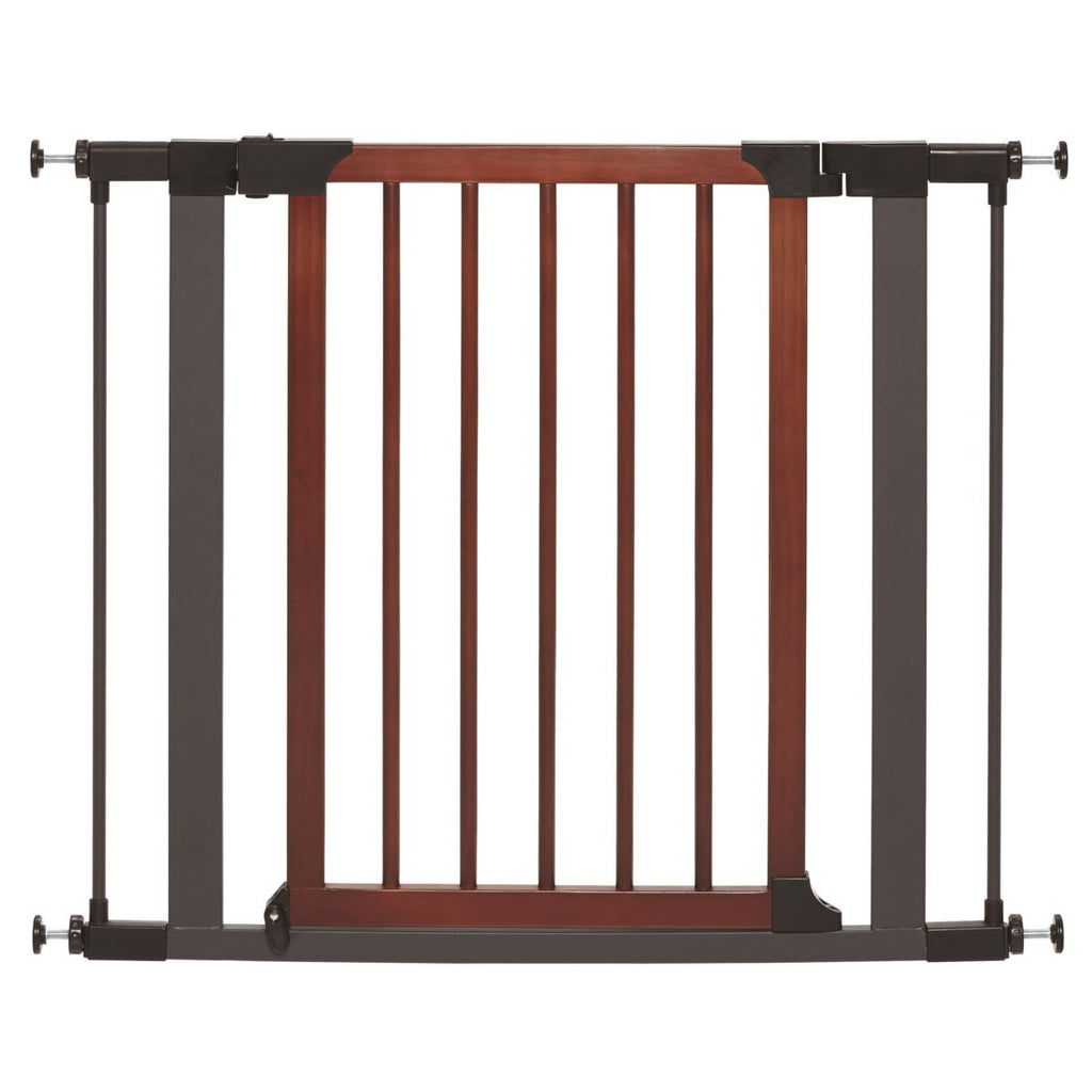 "Midwest 39"" Tall Steel Pet Gate with Graphite Frame & Decorative Wood Door"