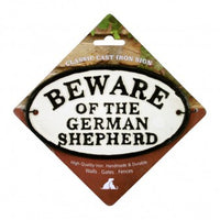 Beware Of The German Shepherd Cast Iron Oval
