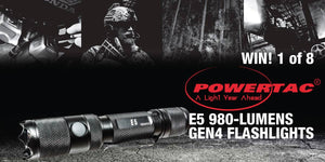 Win 1 of 8 PowerTac E5 980 Lumen Tactical Flashlights