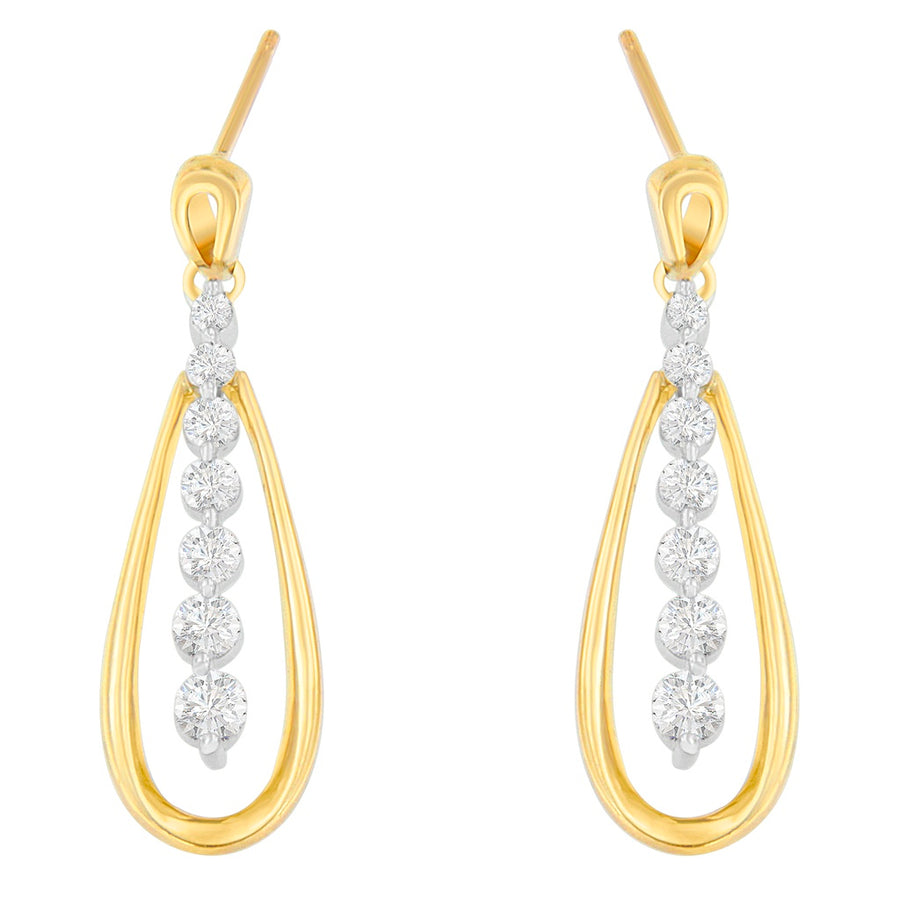 14K Two Toned 1Ct. Tdw Round-Cut Diamonds Earrings (H-I,Si1-Si2)