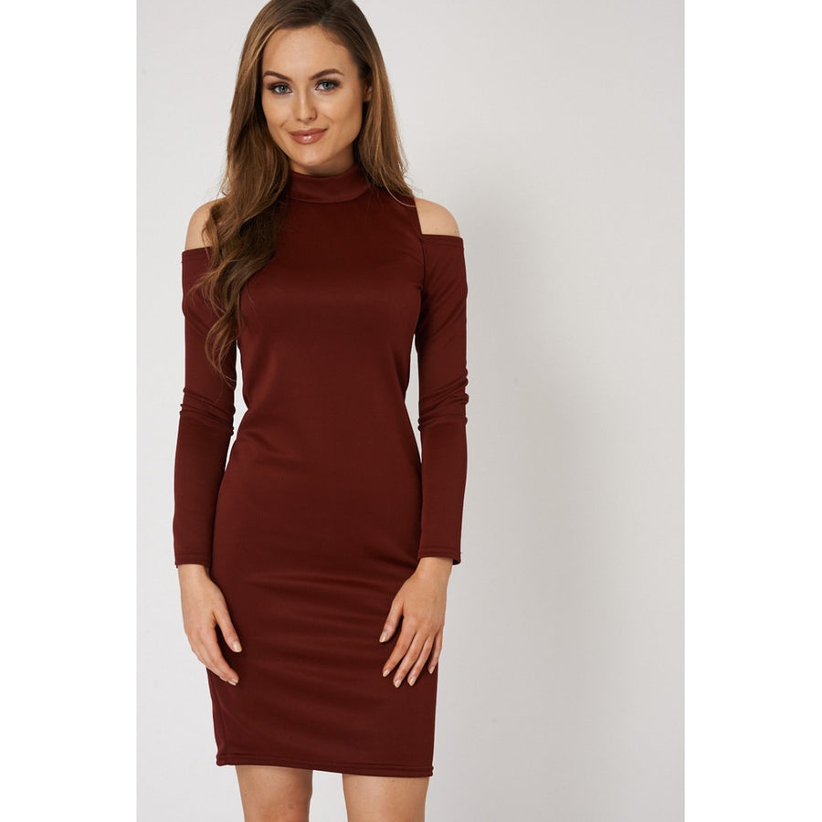 Burgundy Plain Cold Shoulder Dress Ex-Branded