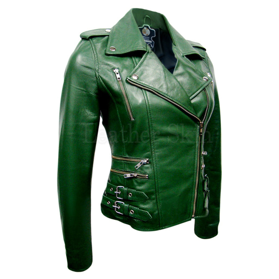 Women Green Brando Leather Jacket Womens