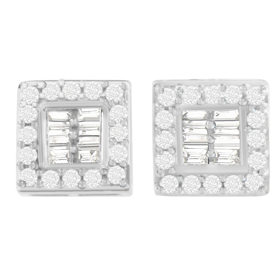 14K White Gold 1Ct. Tdw Round And Baguette-Cut Stud Earrings (H-I,Si1-Si2)