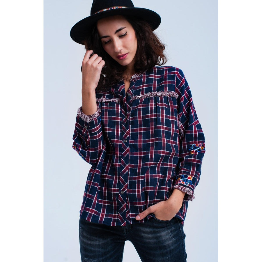Red Checked Embroidered Shirt Top