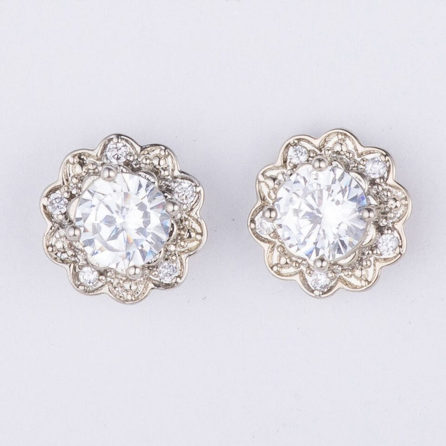 Clear Crystal Flower Studs