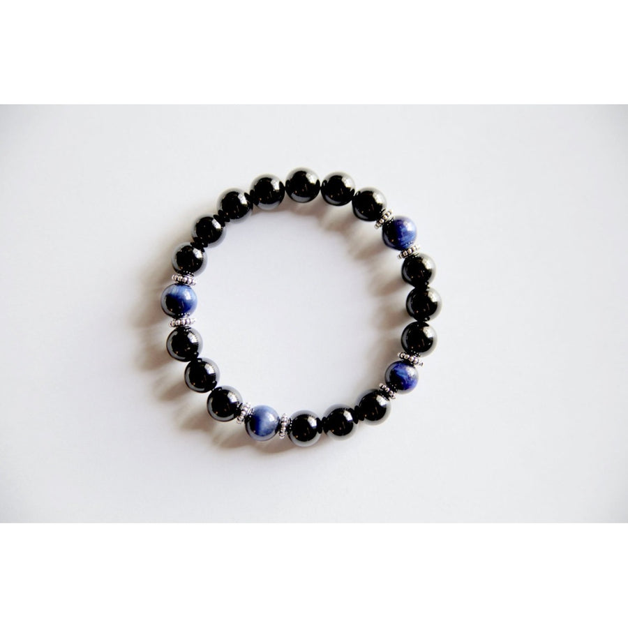 Genuine Black Onyx & Blue TigerS Eye Bracelet W/ Sterling Silver Accents ~ Calm And Protection