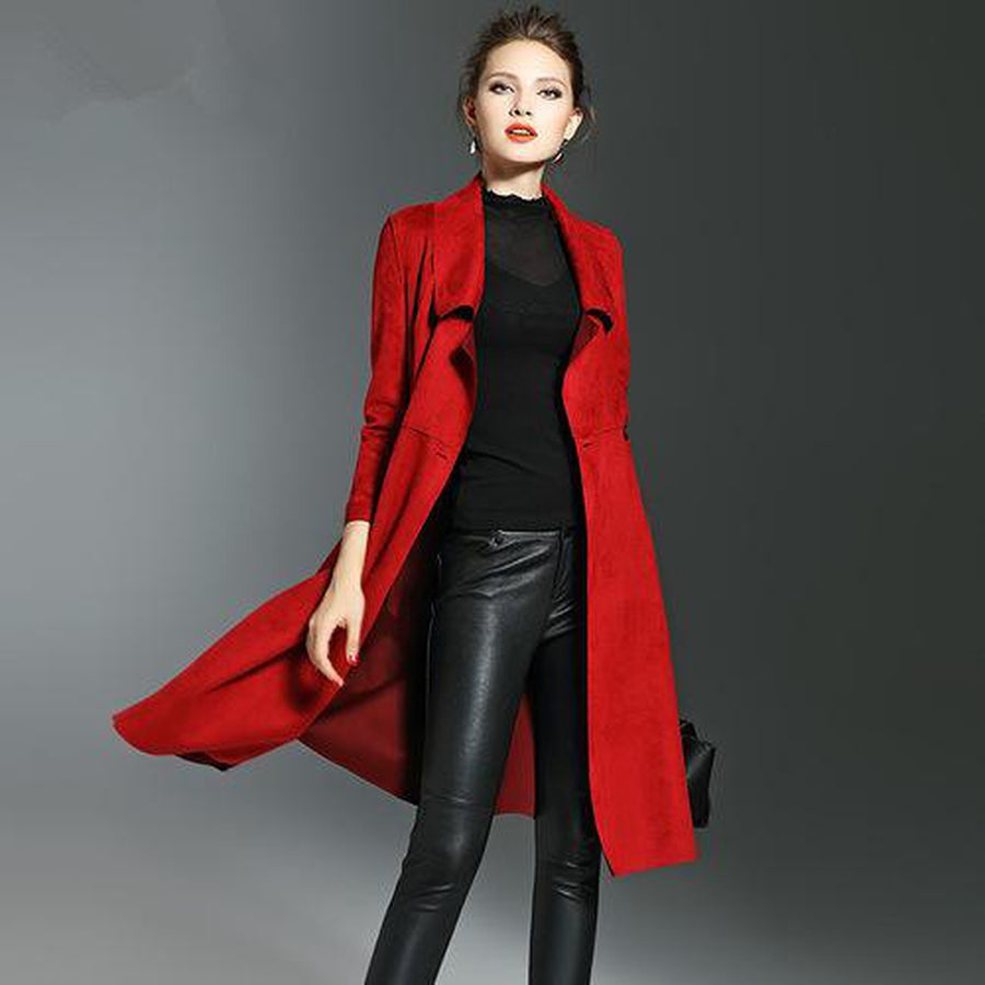 Suede Trench Coat Long Sleeve Double-Breasted
