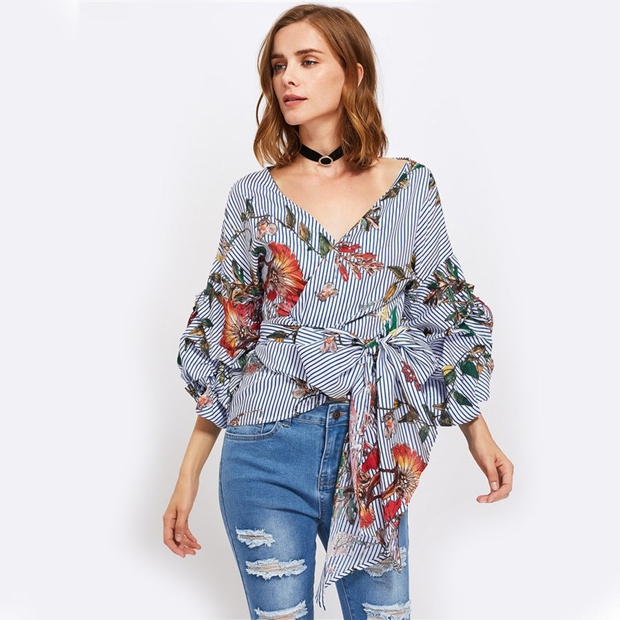 Gathered Sleeve Mixed Print Surplice Wrap Blouse