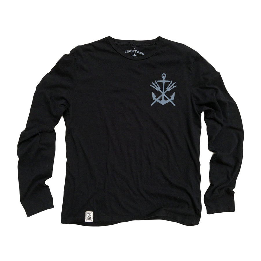 Anchor & Tridents ll: Organic Fine Jersey Long Sleeve T-Shirt in Black Top