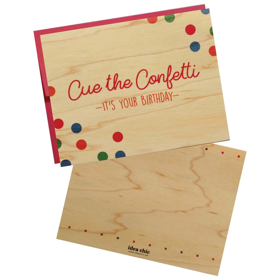 Confetti Birthday Wood Veneer Greeting Card