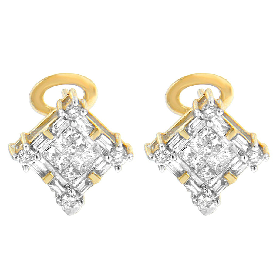 14K Yellow Gold 1Ct Tdw Round, Baguette And Princess-Cut Diamond Earrings (H-I, Si1-Si2)