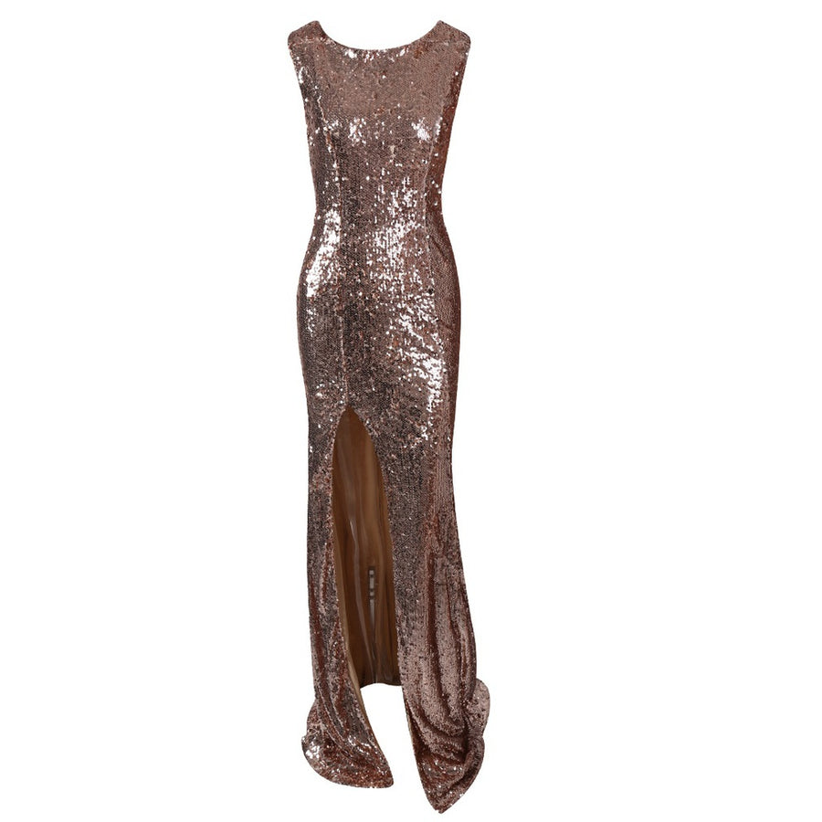 High Split Gold Sequin Gown