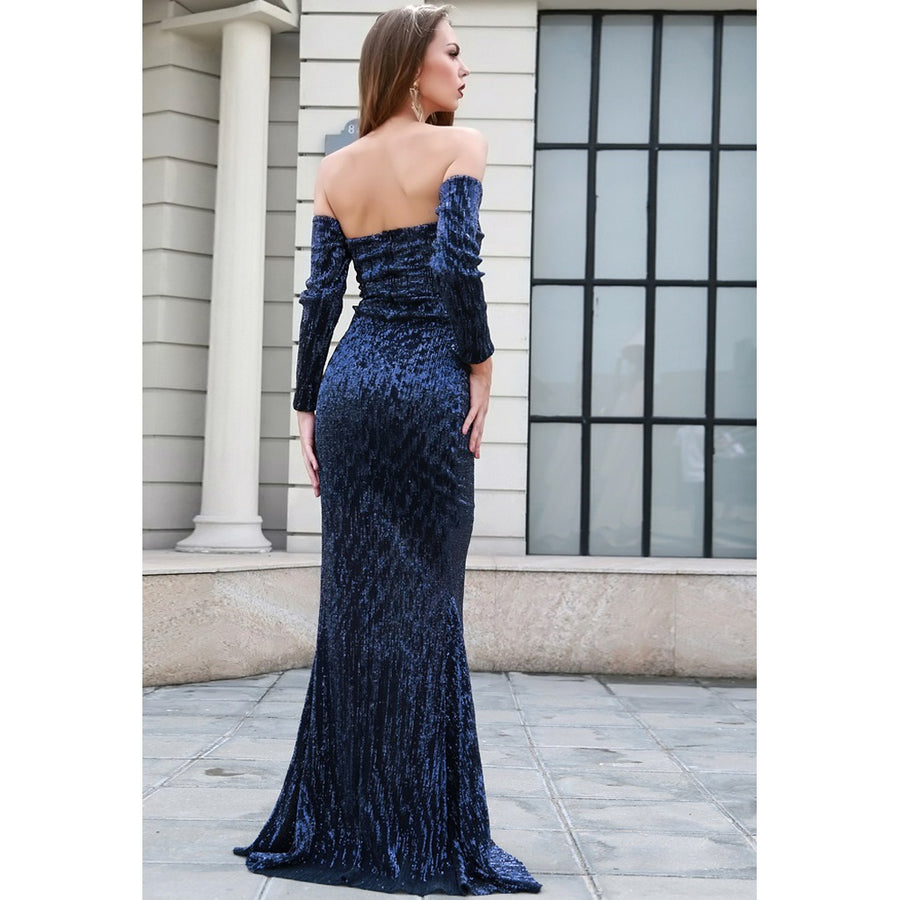 Navy Off Shoulder Sequin Gown