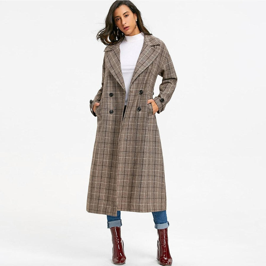 Double Breasted Checked Trench Coat
