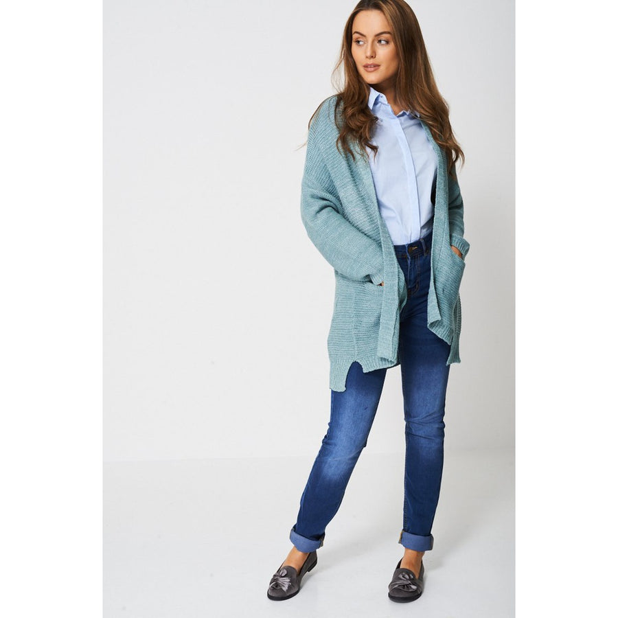 Blue Cardigan In Fine Knit Ex-Branded