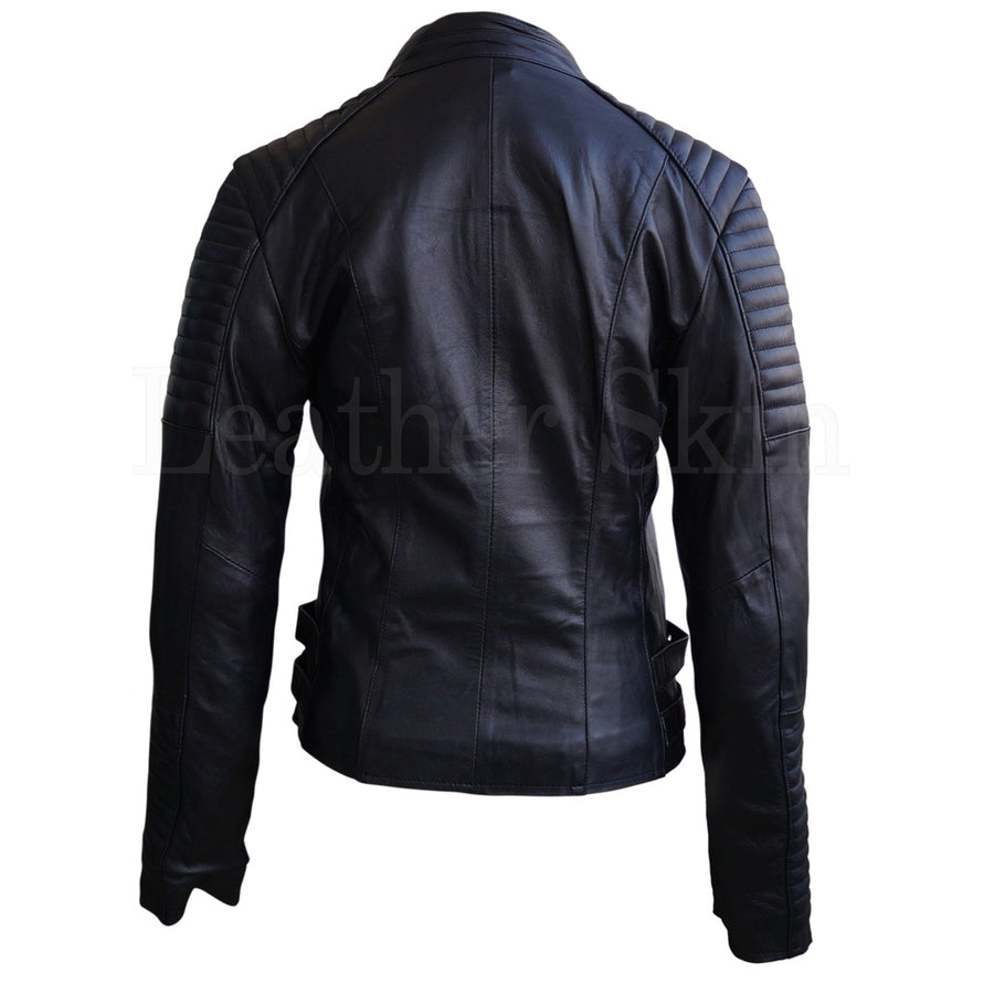 Women Black Brando Padded Leather Jacket Womens