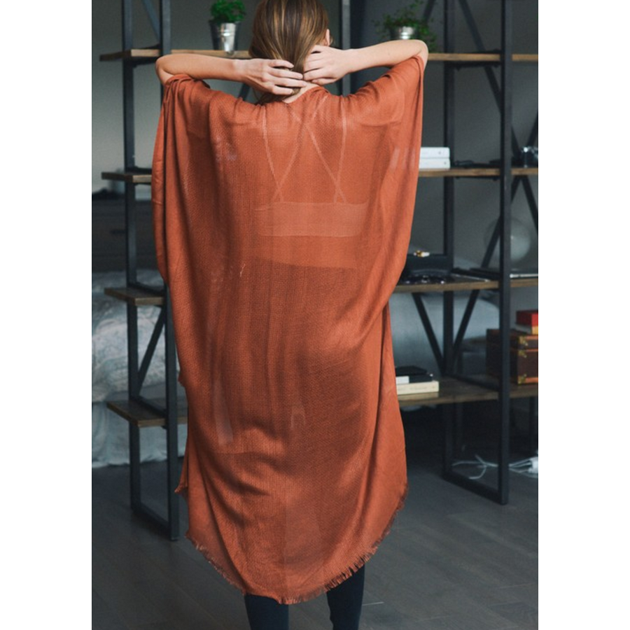 Rust Open Grid Frayed Trim Kimono with Armholes